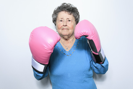 fight disease: An old senior woman fight for cancer