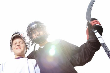 Een portret van hockey bal speler met hockeystick