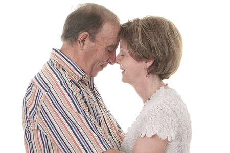 80 year old: A Senior Couple Isolated on a white Background Stock Photo
