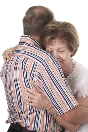 70 80 years: A senior woman cry in the hand of the lover.