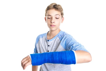 A Blue cast on hand and arm isolated on white background Stock Photo