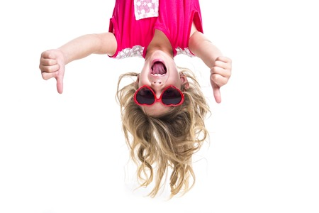 feeling up: A Little girl with upside down head
