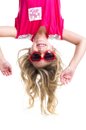 upside down: A Little girl with upside down head