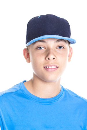 A baseball player over a white background
