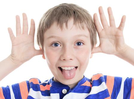 A Little boy wincing on white background Stok Fotoğraf