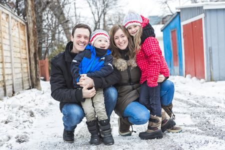 winter: Portrait Of Family On Winter season