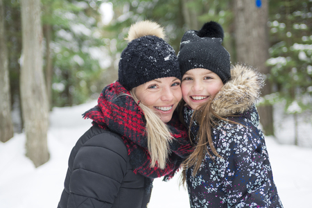 A Mother and daughter having fun in the winter park