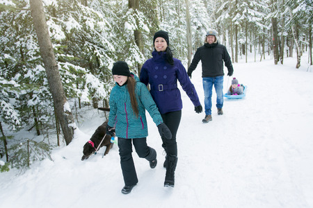 6 7 year old: A Family Pulling Sledge Through Snowy Landscape Stock Photo