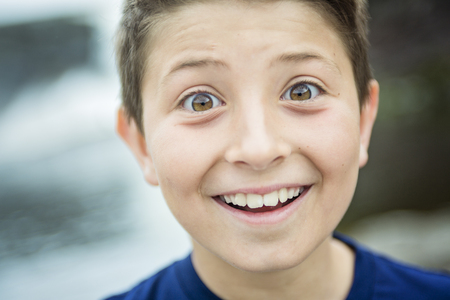 8 year old: A close up of a cute 8 year old boy Stock Photo