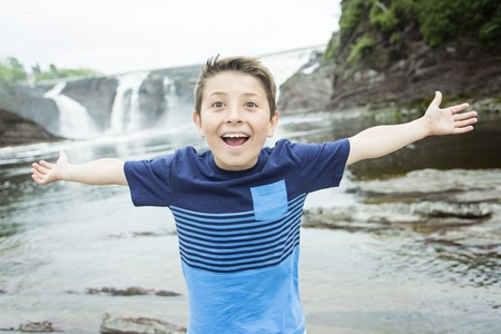 A close up of a cute 8 year old boy Stock Photo