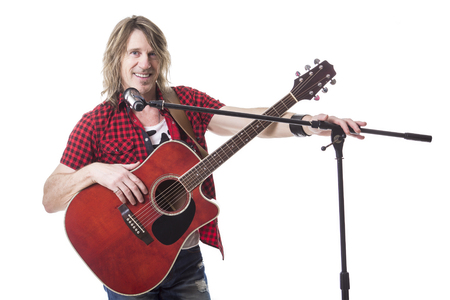 jamming: A nice musician play guitar on studio