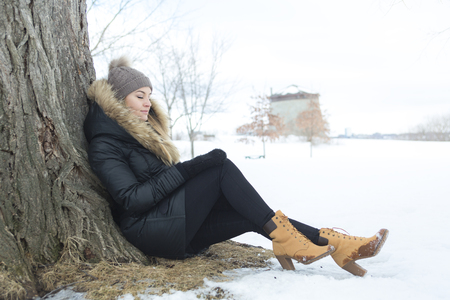 A glamorous winter portrait of a girl outside Stock Photo