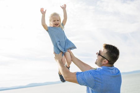A Father and Daughter Playing, Having Fun Together Stock fotó