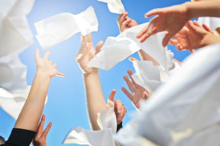 Lot of hand holding Handkerchief on the Sky
