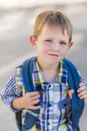 pre-school student going to school Stock Photo