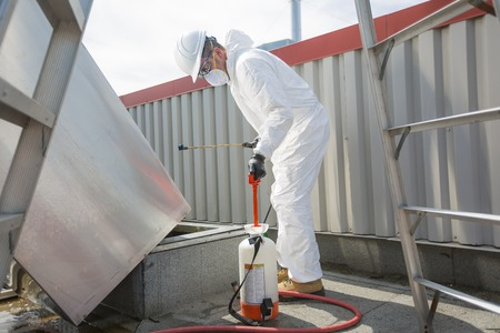 professional in protective uniform, mask, gloves in the roof for cleaning Stockfoto