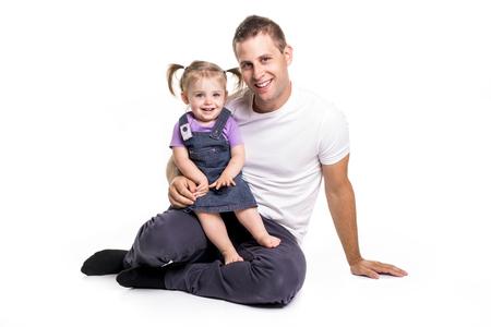 아버지와 딸 재미가 바닥에 누워