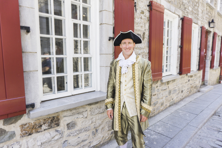 man dressed as a courtier or prince in the Quebec city Stock Photo