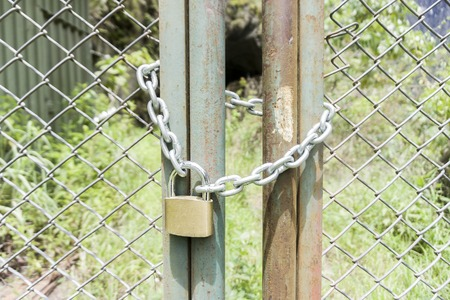 closed padlock on the door of a metal gate Stock Photo