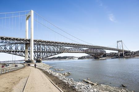 panorama of the Pont de Quebec in spring season Stock Photo