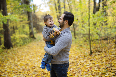 nature with dad in forest autumn