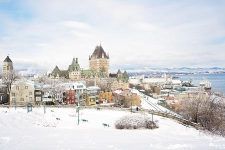 Mooie historische Chateau Frontenac in de stad Québec Stockfoto - 86759400