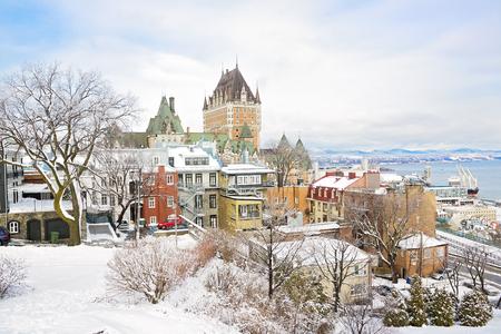 Hermoso histórico Chateau Frontenac en la ciudad de Quebec