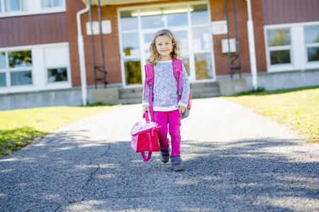 Pre-school student going to Stock Photo