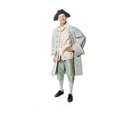 man dressed as a courtier or prince on white background Фото со стока