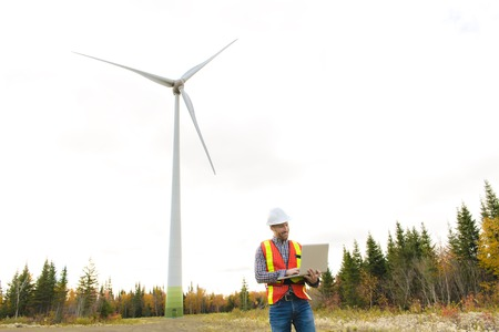 A Technician Engineer in Wind Turbine Power Generator Station