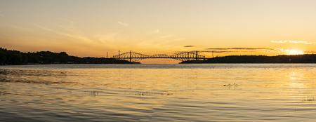 Quebec city bridge in Canada on the sunset