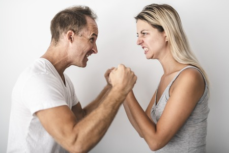 Couple dispute at home each other are frustrated