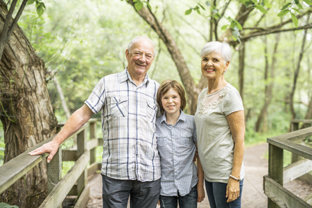 Grandparents with grandkid on summer forest having great time
