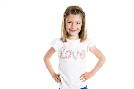Portrait of a cute 7 years old girl Isolated over white background 写真素材