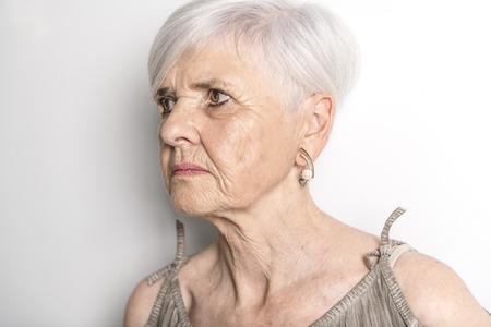 hard portrait Of Senior Woman Stock Photo
