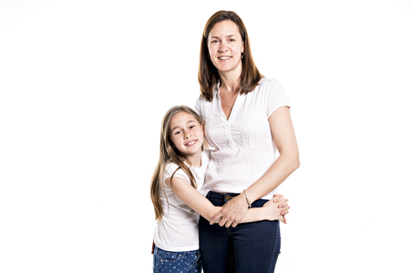 A girl with her mother, isolated on white background