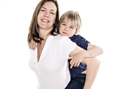 A Mother and his five years blond son together isolated on white Standard-Bild