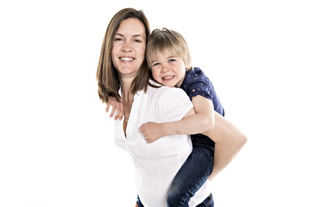 A Mother and his five years blond son together isolated on white Banco de Imagens