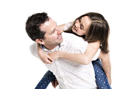 A Girl with his father, isolated on white background