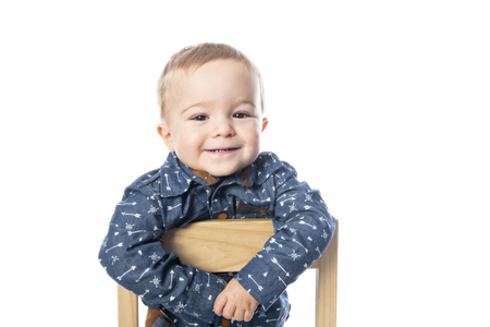 A Cute Little Boy Isolated on the White Background. Stock Photo