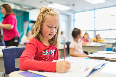 education and school concept little student girl studying at school Stock Photo