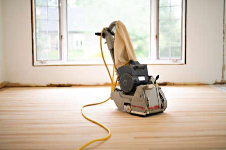 Sanding hardwood floor with the grinding machine only tool