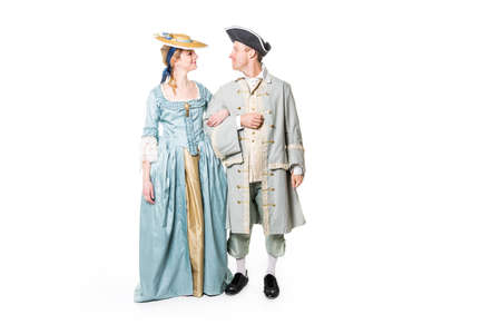 beautiful couple in long medieval dress isolated on white Stock Photo