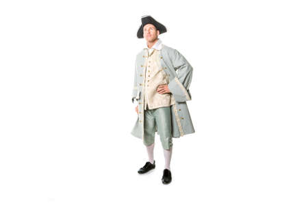 man dressed as a courtier or prince on white background