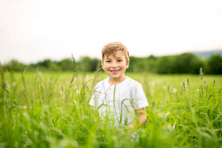 Happy boy in the meadow