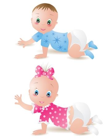 baby clip art: Baby girl and boy