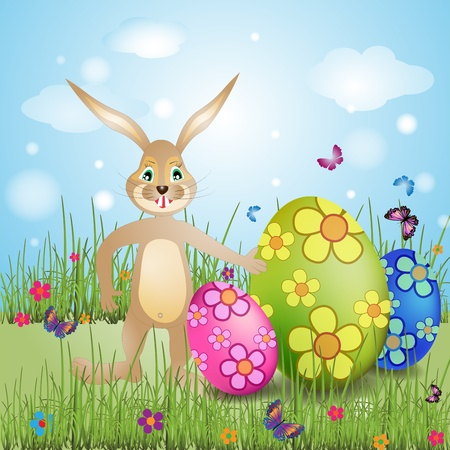Easter bunny with colorful eggs photo