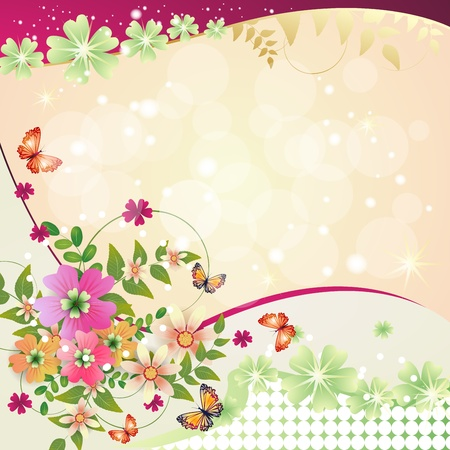 Springtime background with flowers and butterfly