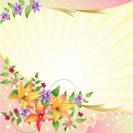 bright borders: Background with flowers Illustration