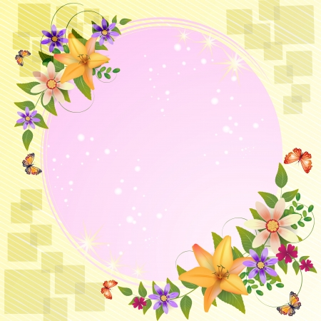 frame flower: Background with flower and beautiful decoration